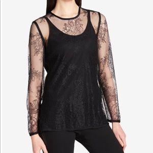 DKNY full sleeve , lace top , Sz S